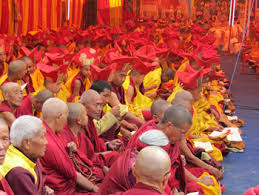 Group Buddhist Monks performeing rituals