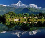 wonderful mountains picture displaying in fewa lake in pokhara